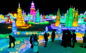el Festival de Esculturas de Hielo y Nieve en Harbin